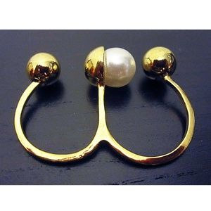 BaubleBar double ring with pearl NEW with tag